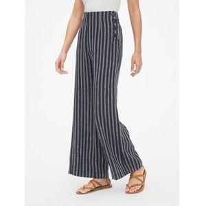 Gap Blue Striped Linen Blend Wide Leg Pants